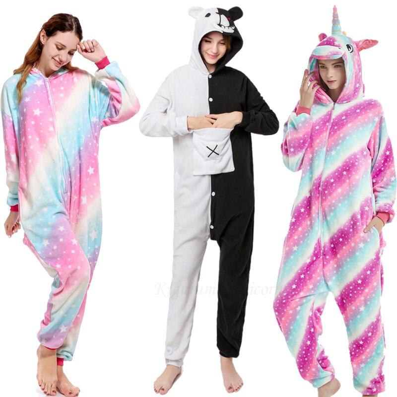 Kigurumi Unicorn Pajama Adult Animal Stitch Onesie Women Men Couple 2019 Winter Pajamas Suit Kegurumi Sleepwear Flannel Pijamas