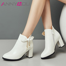 ANNYMOLI Winter Ankle Boots Women Boots Bow Zipper Thick Heel Short Boots Pearl Super High Heel Shoes Lady Autumn Big Size 33-43