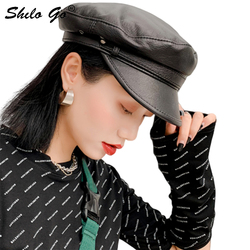 Genuine Leather Visor Rivet Solid Sheepskin Visor Military Hat Autumn Winter Vintage Beret Cap Women England Style Flat Cap