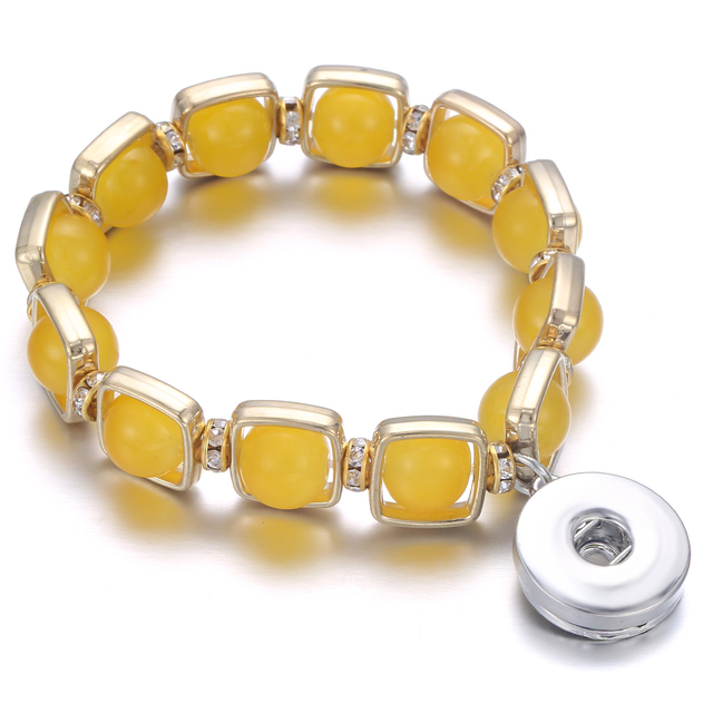 New Beaded Snap Bracelet Natural Stone Beads 18mm Snap Button Bracelet Bangle Elastic Beading Snaps Buttons Beads Making Jewelry