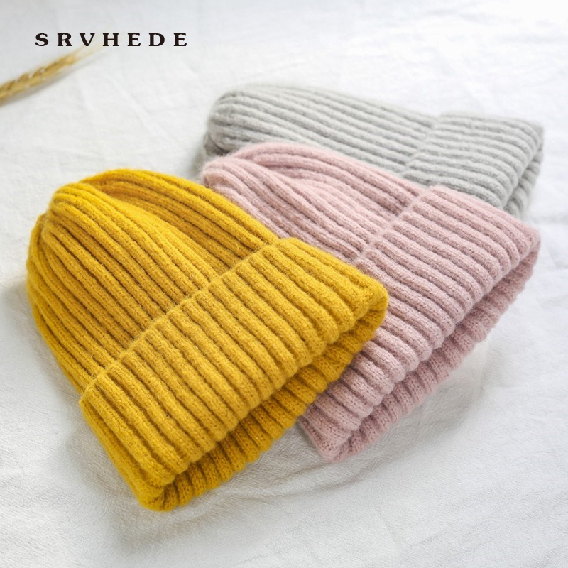 2019 New Winter Solid Color Wool Knit Beanie Women Fashion Casual Hat Warm Female Soft Thicken Hedging Cap Slouchy Bonnet Ski