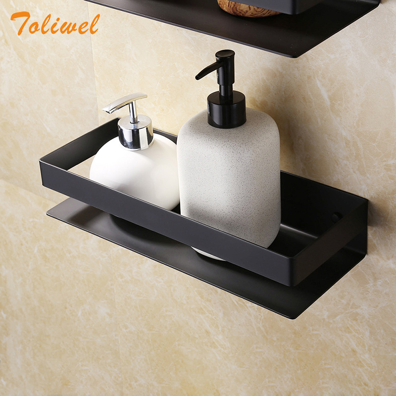Étagère de salle de bain noire | Étagère de douche en acier inoxydable 304 support de rangement carré étagère de bain-douche support de rangement mural