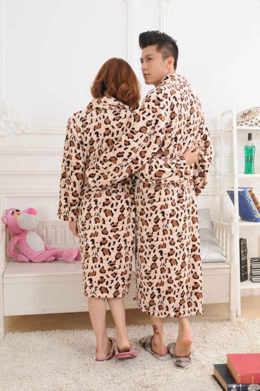 Mens Flanella Leopardo Abito Maschile Comfort Pigiami Kimono Accappatoio Accappatoio Spogliatoio Inverno casual Loungewear Bagno Adatto Abbigliamento