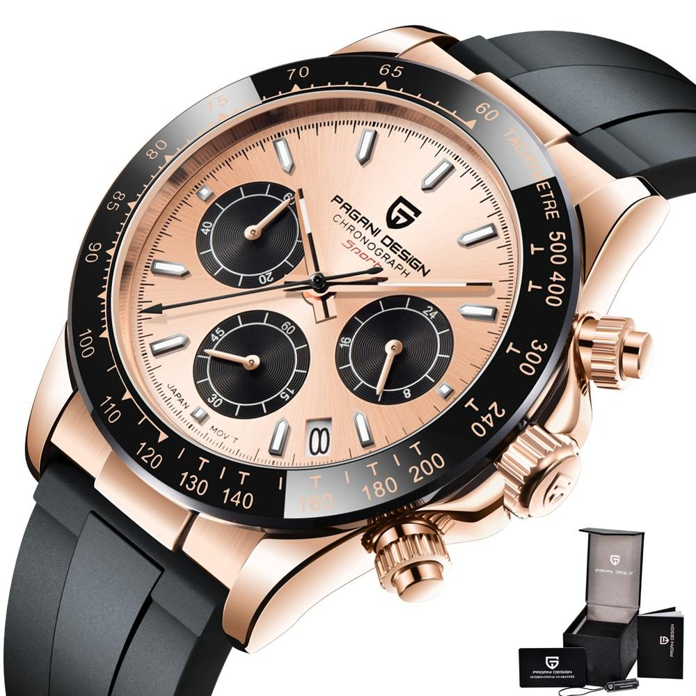 Pagani Design Chronograph Mens Watches Rose Gold Quartz Watch Men 100M Waterproof Sports Male Clock Sapphire Relogio Masculino