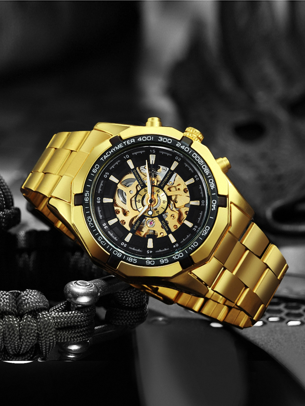 Man Watch Mechanical-Watch Skeleton Gold Vintage Mens Automatic Luxury Top-Brand