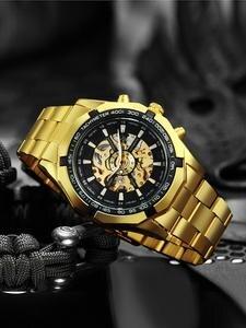 Победитель часы Для Мужчин Скелет автоматические механические часы золотистые часы-скелетоны Винтаж мужские часы Для мужчин s часы FORSINING лу...