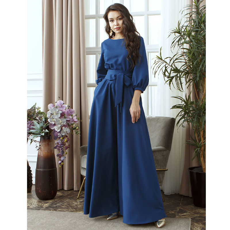2019 Autumn Women Casual Bow Maxi Sashes Dress Ladies Lantern Sleeve O Neck Elegant Party Dress Solid Fashion Women Long Dresses