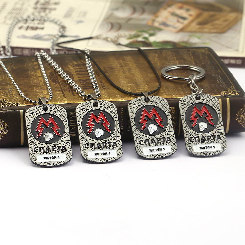 PC Game Metro Exodus 2033 Keychain Dog Tag Pendant Metal Chain Men Necklaces Vintage Charm Gifts For Kids Games Jewelry Kolye