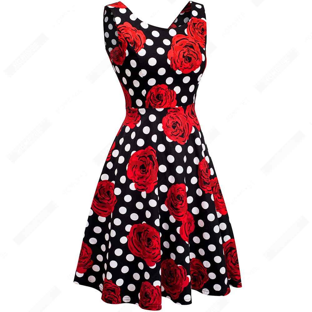 Summer Women Retro Polka Dot Rose Floral Print Slim Elegant Casual Party Swing A-Line Dress EA063 2