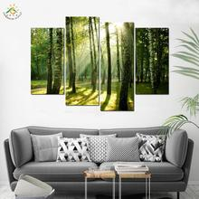 5 Pieces/set 3 Pcs/Set Modern Canvas Wall Paintings Sunshine on The Trees Prints Vertical Forms Artist Picture (Un