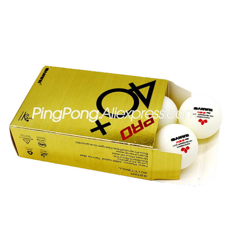 12 Balls SANWEI 3-Star Table Tennis Ball SANWEI ABS PRO Ping Pong Balls ITTF Approved New Material Plastic Poly Ball