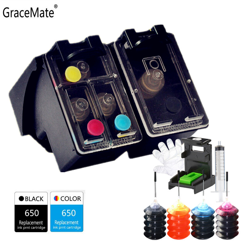 Refillable Kit Black Color 650XL Replacement For HP 650 For Hp Deskjet 1015 1515 2515 2545 2645 3515 4645 Printer