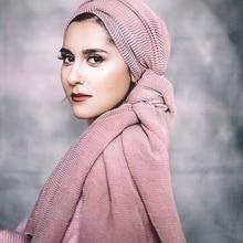 Muslim Women Hijab Scarf Foulard Islamic Cotton Shawls Wraps Ladies And Soft Stoles Female