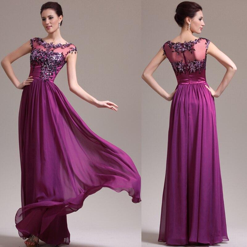 2018 Elegant Robe De Soiree Sexy Cap Sleeve Purple Appliques Party Formal Prom Gown Elegant Women Long Bridesmaid Dresses