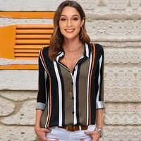 Blouses femmes 2019 loisirs à manches longues rayé chemise col rabattu dame bureau chemise automne Blouse haut Blusas Mujer grande taille
