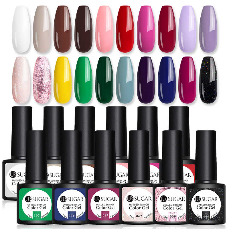 UR GULA 10/20 pcs/Lot Gel Nail Polish Set 122 Warna Glitter Warna Semi Permanen UV Led Gel Varnish rendam Off Kuku Lak