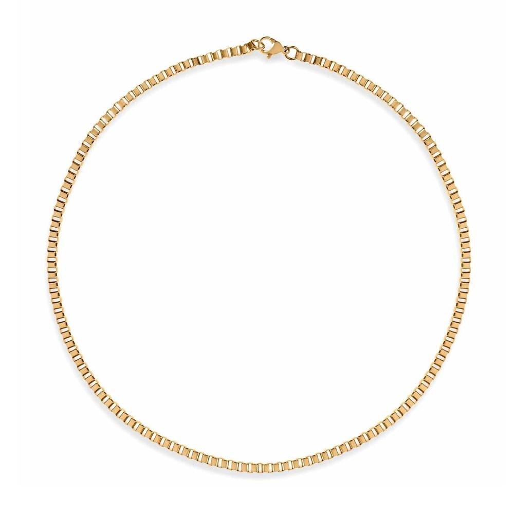 Mavis tavşan 3mm Largo kutu zincir kolye paslanmaz çelik 41cm gerdanlık kolye olarak moda bayan en iyi hediye