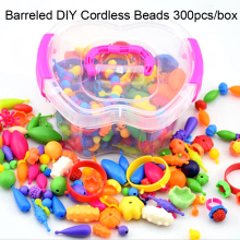 DOLLRYGA 300pcs/box knutselen kinderen DIY Cordless Beads jouet enfant Children Pop Bracelet Toys Kids Craft Rainbow Gift
