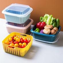 Panier de légumes à Double couche, couvercle de bac à légumes multifonctionnel carré de grande taille pour le lavage du réfrigérateur