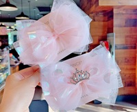 Boutique 10pcs ins Fashion Cute Glitter Tiaras Bow Hairpins Oversize Gauze Bowknot Hair Clips Princess Headwear Hair Accessories