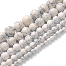 Wholesale Natural White Howlite Turquoises Round Loose Beads Fit Diy bracelet 15 Strand  4-12 MM  Pick Size For Jewelry Making 15 5 strand natural white