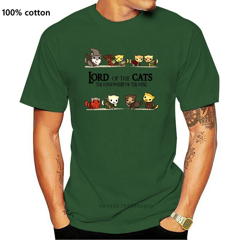 Lord Of The Cats The Furlowship Of The Ring T-Shirt divertente Nerd Tee regalo presente Loose Size Top Ajax Funny Tee Shirt