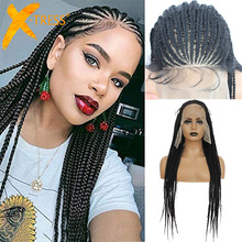 Synthetic Lace Front Braided Wigs For Black Women 13X6 Lace Frontal Hair Wig With Baby Hair Natural Box Cornrow Braids X-TRESS