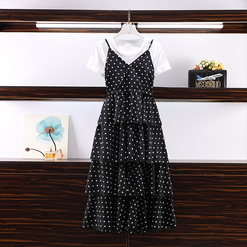 Large Size Dress 2019 Summer Wear New Style Loose-Fit Slimming Short Sleeve T-shirt And Polka Dot Strapped Dress Fashion Two-Pie