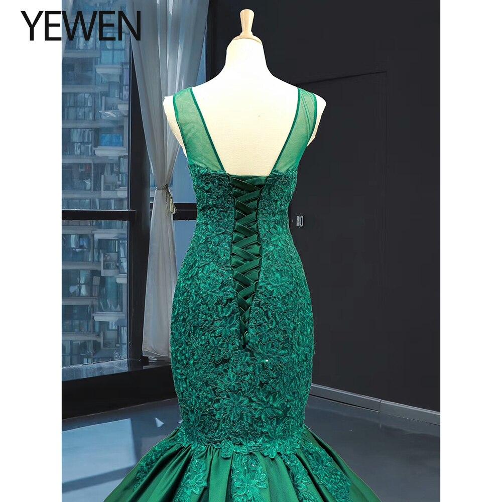 Image 5 - Green long Mermaid dresses evening 2020 O Neck formal dress women elegant evening party gown vestidos de fiesta talla grandeEvening Dresses   -