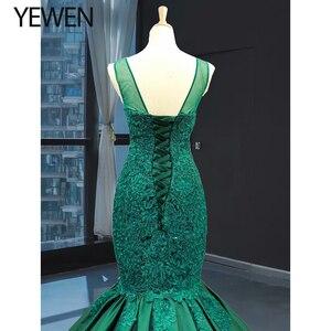 Image 5 - Green long Mermaid dresses evening 2020 O Neck formal dress women elegant evening party gown vestidos de fiesta talla grande