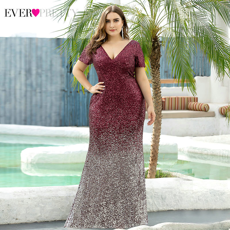 Plus Size Burgundy Evening Dresses Ever Pretty EP00665 Short Sleeve Sequined Deep V-Neck Luxury Mermaid Party Gowns Abendkleider