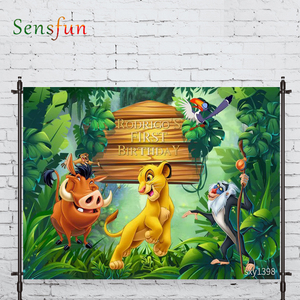 LEVOO Photography Backdrop Lion Forest Birthday Animal Cartoon Prop Fabric Photography Backdrop Photocall Photobooth