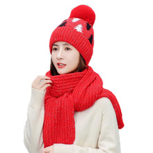BINGYUANHAOXUAN 2019 New Winter Caps Knit Thick Wool  Warm Christmas Hat Scarf Sets For Women or Girl 2pcs Set