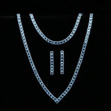 스카이 블루 큐빅 지르코니아 실버 925 쥬얼리 세트 여성용 웨딩 팔찌 펜던트 귀걸이 목걸이 브라 쥬얼리 세트