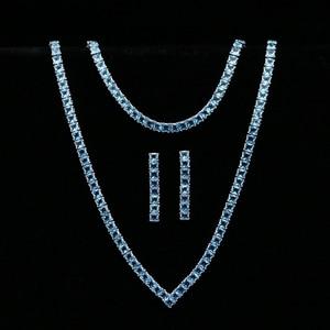 Image 1 - Himmel Blau Zirkonia Silber 925 Schmuck Sets Für Frauen Hochzeit Armband Anhänger Ohrringe Halskette Braut Schmuck Sets