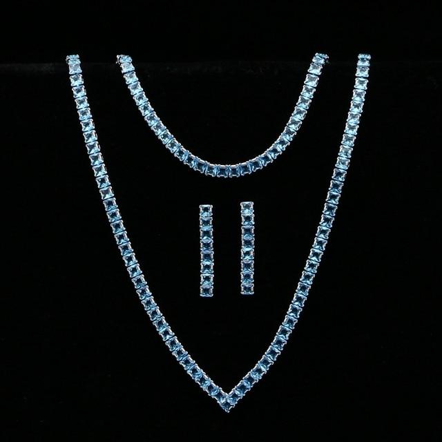 Himmel Blau Zirkonia Silber 925 Schmuck Sets Für Frauen Hochzeit Armband Anhänger Ohrringe Halskette Braut Schmuck Sets