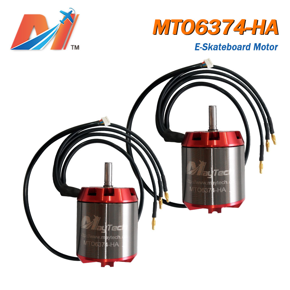 Maytech (2PCS) <font><b>6374</b></font> <font><b>190kv</b></font> <font><b>brushless</b></font> <font><b>motor</b></font> for e-skateboard e-bike electric scooter fighting robot with hall sensor image