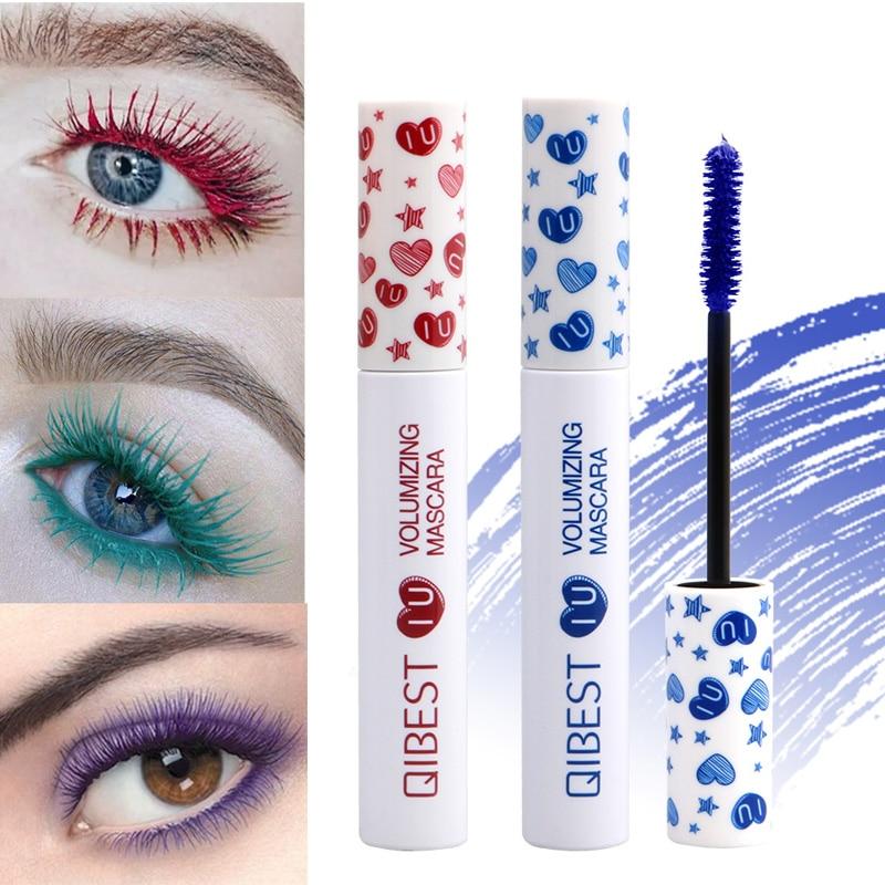 QIBEST Color Mascara Long Lasting Professional Eyes Makeup Waterproof Cosplay Curling Black Mascara Make-up Beauty Cosmetic