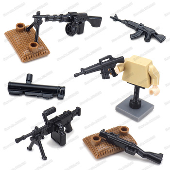 Military American Light Machine Guns Building Block Army Weapons Moc WW2 Model Battlefield Equipment Child Gift Educational Toys
