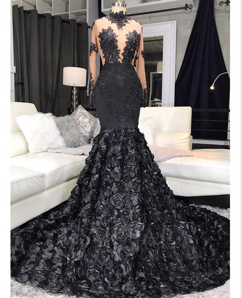 Black Mermaid Long Prom Dress 2020 Real Pictures Sexy See Through Top Appliques 3D Flowers Long Sleeve African Girl Prom Dresses