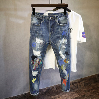 Korean Style Fashion Men Jeans Embroidery Patch Designer Ripped Jeans Stretch Pencil Pants Streetwear Elastic Hip Hop Jeans Men 1