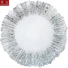Dia34 см в форме цветка серебряное золото обода прозрачное стекло