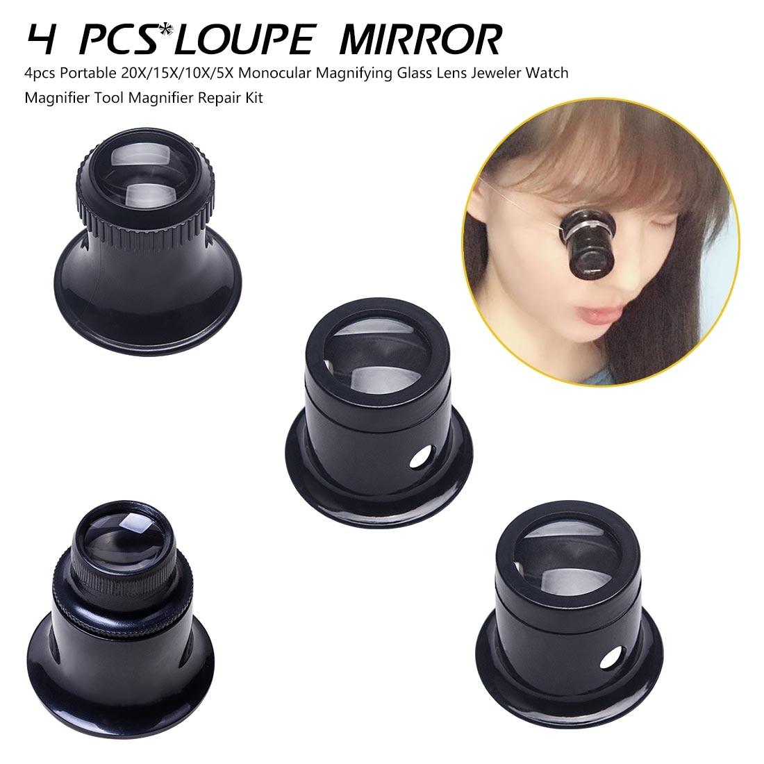 4pcs Portable 20X/15X/10X/5X Monocular Magnifying Glass Lens Jeweler Watch Magnifier Tool Magnifier Repair Kit