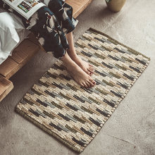 Handmade Rug Knitting Texture Area Floor Door Mat Vintage National Cotton Rugs Carpet Home Bedroom Living Room Decor 50x80cm(China)