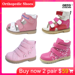 Girls Pink Leather Sandals Flatfoot Orthopedic Shoes For Kids Lovely Combination Fashion Mary Casual Shoes  for Children Toddler