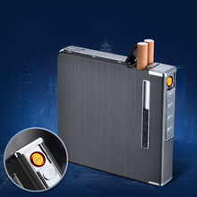 New Metal Cigarette Case Lighters Hold 20Pcs Cigarettes Windproof Lighter Plasma USB Rechargeable Electric Lighter Smoking Tool