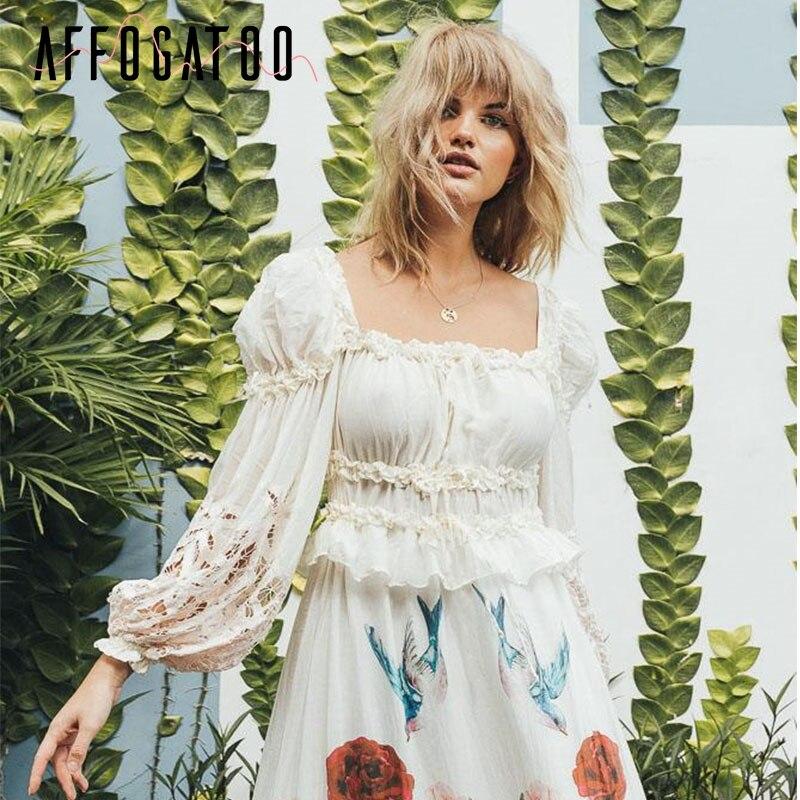 Affogatoo Elegant Ruffle Cotton Blouse Shirt Women Vintage Lace Up Luxurious Short Blouses Lantern Sleeve Hollow Out Tops Ladies