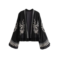 Vintage Embroidery Open Stitch Elegant Black Jacket Coat Women 2019 Fashion Ethnic Style Long Flare Sleeve OuterwearS Chic Tops
