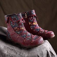 2019 New Vintage New Genuine Leather Ankle Boots for Women Winter Autumn Ladies Warm Shoes Woman Outdoor Handmade Flat Booties jady rose 2018 new brown ethnic women genuine leather ankle boots straps autumn short booties casual flat shoes woman flats