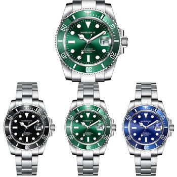 MANBUSHIJIE luksusowe męskie zegarki NH35 automatyczny zielony zegarek mężczyźni ze stali nierdzewnej wodoodporny biznes Sport zegarek mechaniczny tanie i dobre opinie 10Bar CN (pochodzenie) Składane zapięcie z bezpieczeństwem Nurkowanie Automatyczne self-wiatr 22cm STAINLESS STEEL Podświetlenie
